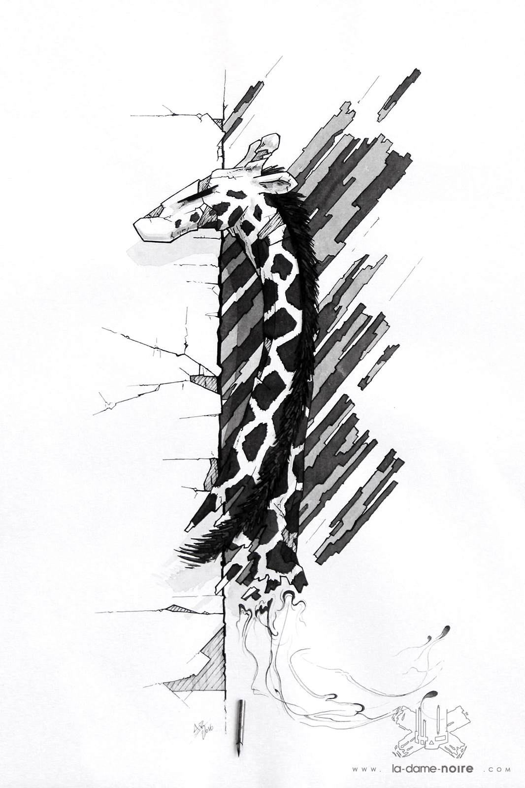 Drawing of a Giraffe made with a quill and black china ink